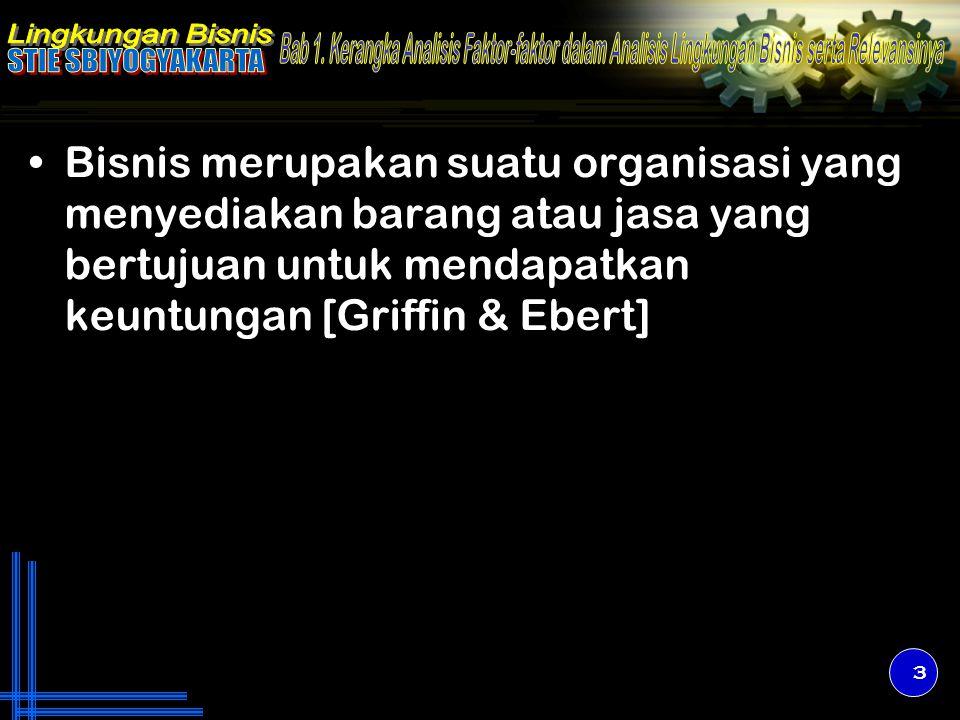 Bisnis merupakan suatu organisasi yang menyediakan barang atau jasa yang bertujuan untuk mendapatkan keuntungan [Griffin & Ebert]